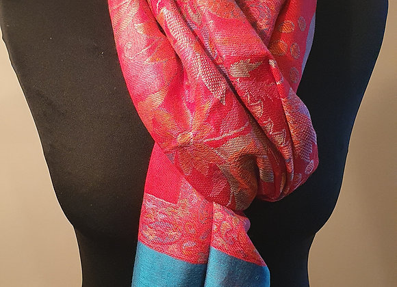 Multicoloured Designs In Red Pashmina