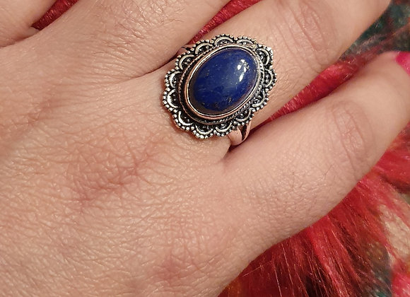Silver Plated Antique Finished Lapis Lazuli Ring