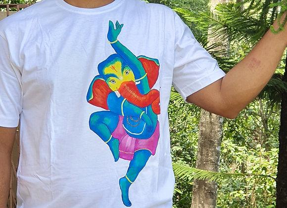 "Hand Painted:""Dancing Ganesha"" on cottonT shirt"