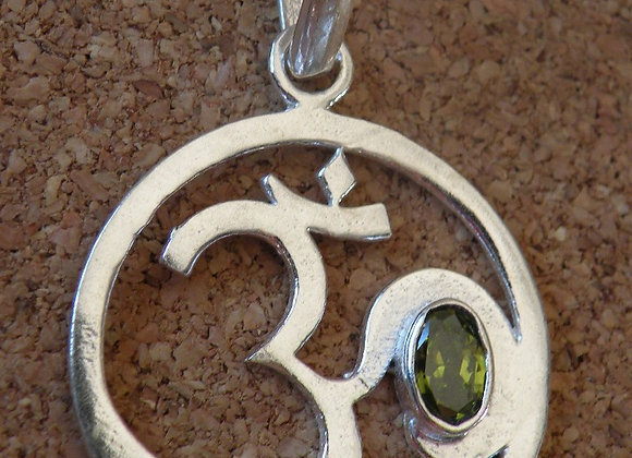 """""""Aum Pendents"""" with Different Semi Precious Stones(Silver Plated)"""