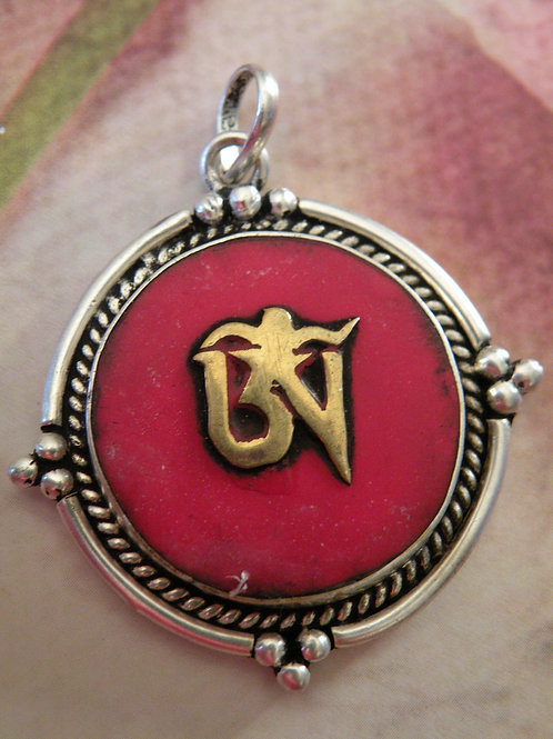 """Tibetan Aum"" Coral Inlay *Silver Polished*"