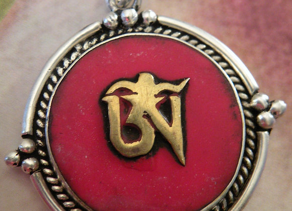 """Tibetan Aum"" Coral Inlay *Silver Plated*"