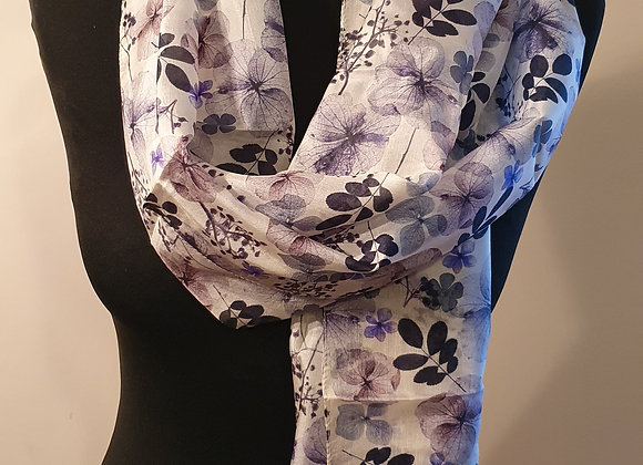 Fine Floral Print Silk Scarf  (Blue,Purple)