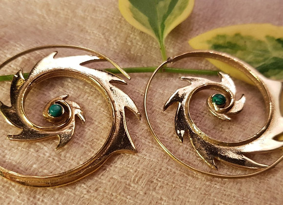 Spiral Fire Earring with Turquoise stone (Brass)