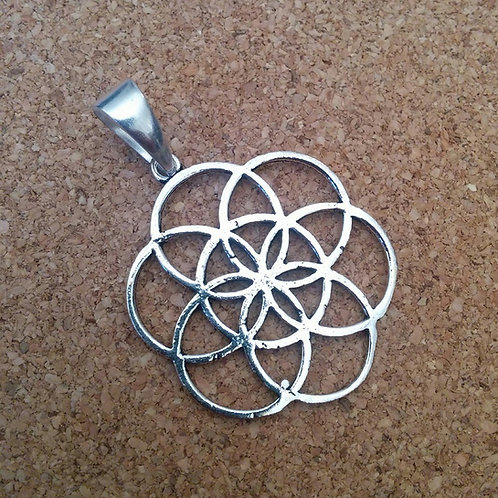 """""""Seed Of Life"""" Silver Polished Sacred Geometry Pendent"""