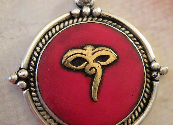 """Buddha Eyes"" Coral Pendent (Silver Plated)"