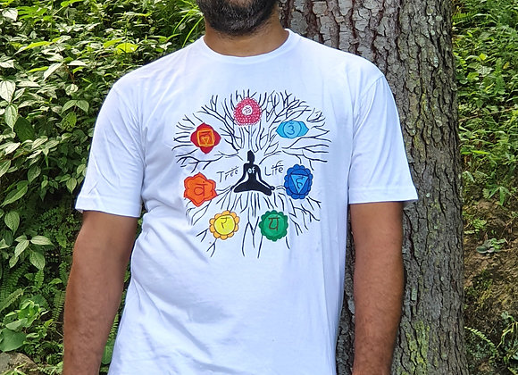 "Hand Painted:""Tree of Life and Seven Chakra"" on cotton T- shirt"