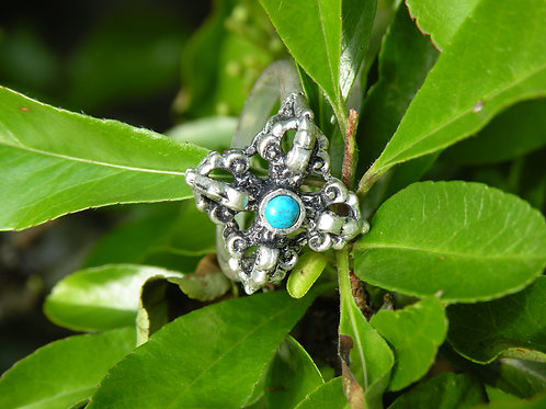 Double Dorje silver Polished Ring with Turquoise
