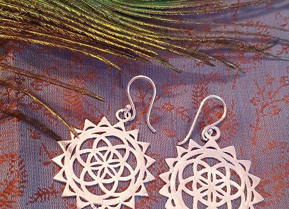 "Seed Of Life Mandala Earrings"" (Silver Plated)"
