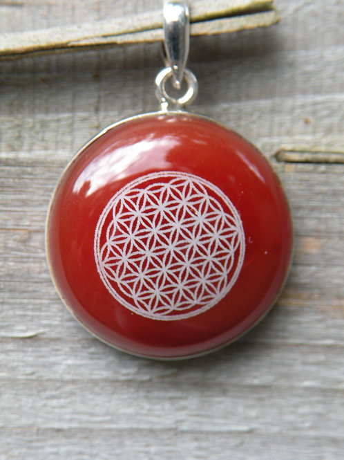 """""""Flower Of Life"""" Lazered on Red Jade St. Silver"""