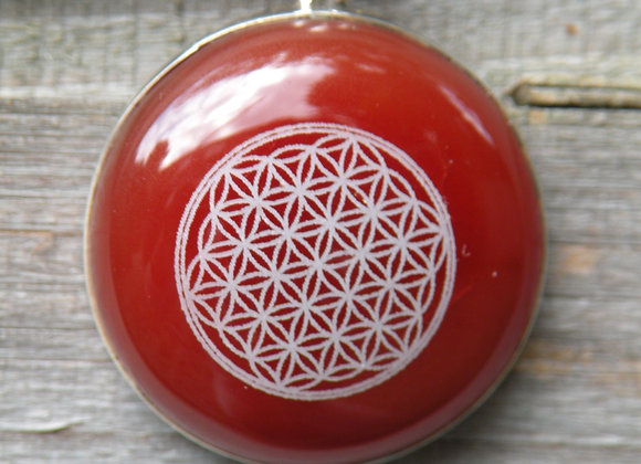 """Flower Of Life"" Lazered on Red Jade St. Silver"