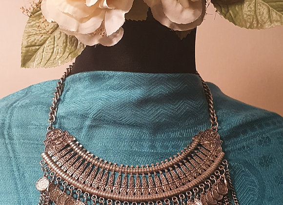 Silver Plated Antique Finished Chunky Statement Necklace