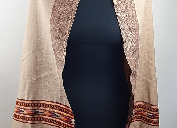 Large Double Sided Fine Woollen Himalayan Shawl/Blanket (Brown)