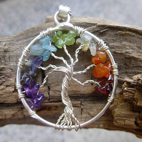 """""""Tree of life""""with seven chakra balancing stone pendent"""