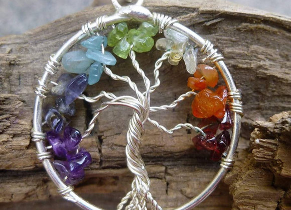"""Tree of life""with seven chakra balancing stone pendent"