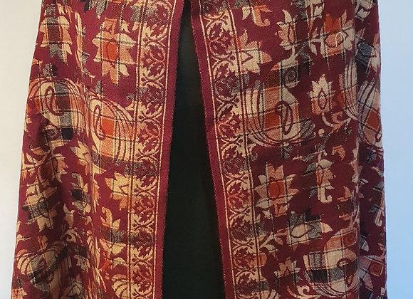 Large Double Sided Woollen Shawl/Blanket (Maroon ,Cream)