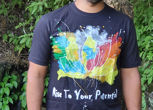 "Hand Painted:""Lotus In Seven Chakra Colours"" on cotton T- shirt"