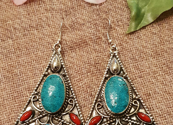 Wings Tibetan Earrings (Silver Plated)