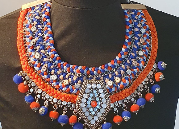Hand Woven Necklace with Pompoms