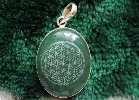"""Flower Of Life"" Sacred Geometry *Green Jade* St. Silver"