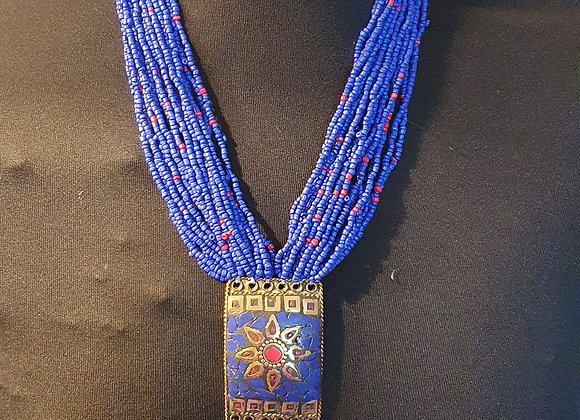 Beaded Indigo Colour Necklace With Mosaic Work