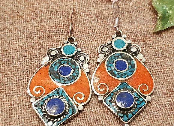 Mahakala Tibetan Earrings (Silver Plated)
