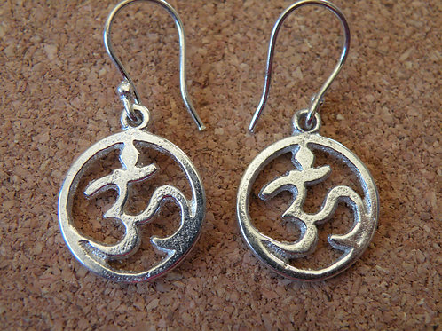 Aum Earrings Silver Polished