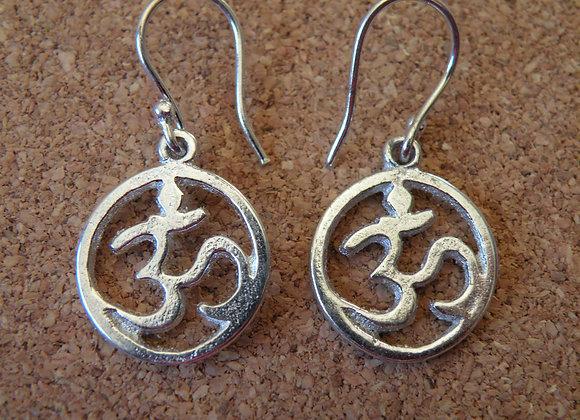 Aum Earrings Silver Polished