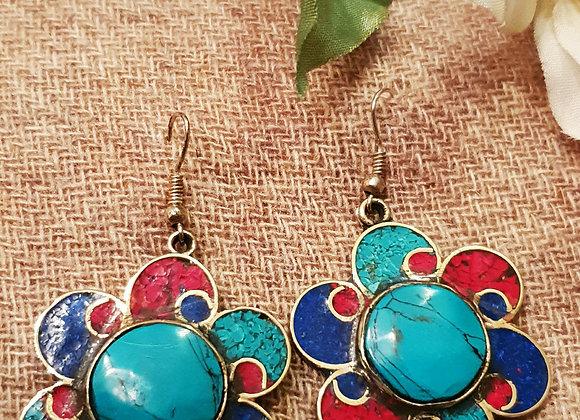 Flower Tibetan Earrings (Silver Plated)