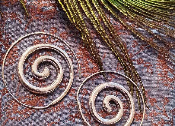 Spiral Earrings( Silver Plated )