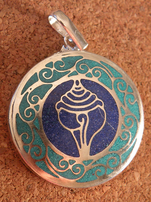 Conch(shankha )Pendent*turquoise +lapis Inlay