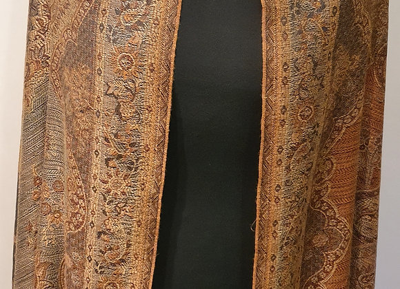 Large Double Sided Fine Woollen Shawl/Blanket ( Black Shades of Brown)