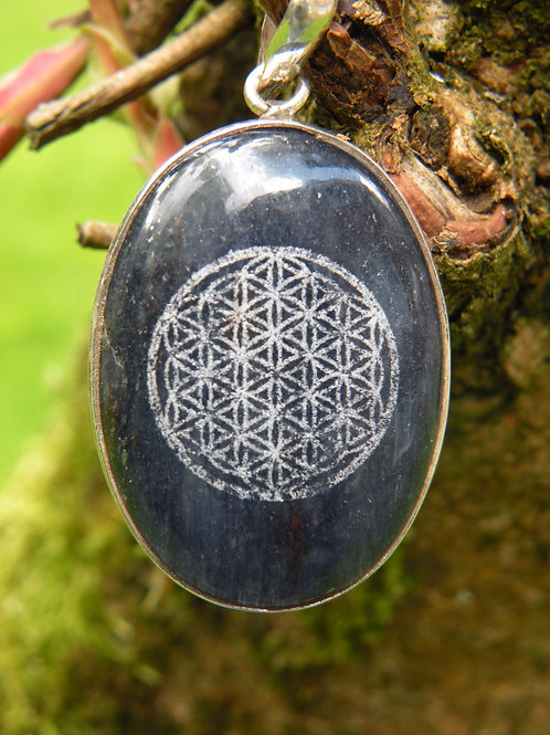 """""""Flower Of Life"""" lazered On Lapis *St.Silver*"""