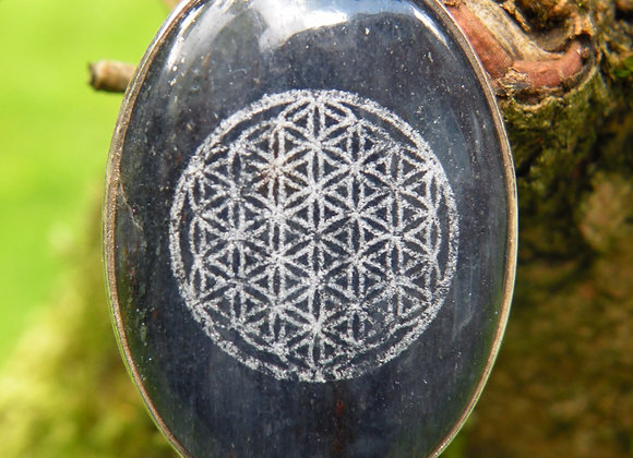 """Flower Of Life"" lazered On Lapis *St.Silver*"