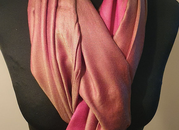 Double Shaded Pashmina In Soft Pink And Green