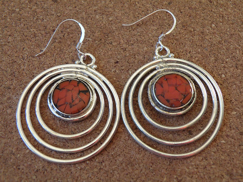 Coral silver polished Earrings