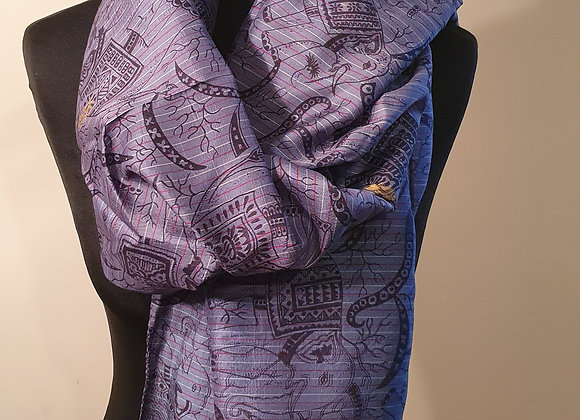 Large Elephant Print Raw Silk ( Purple)