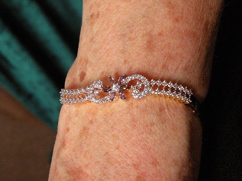 Bracelet With Cubic Zircon and Amythst
