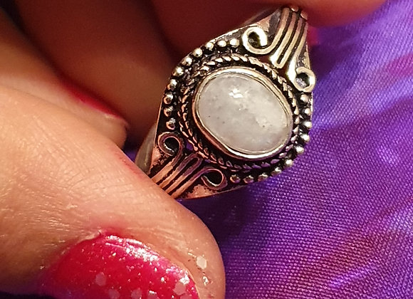 Silver Plated Antique Finished Rainbow Moonstone Ring