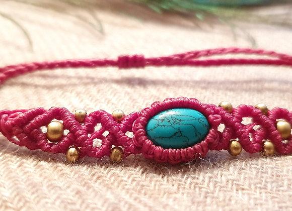 Turquoise Macramé Pink Bracelet