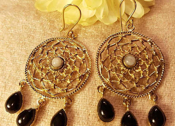 Dream Catcher Earring ( Moonstone  and Black Onyx with Brass)#2