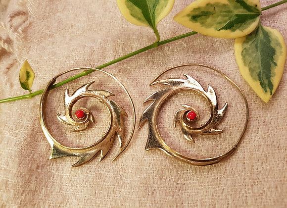 Fire Spiral Earrings