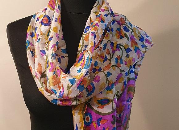 Fine Floral Print Silk scarf (Magenta)