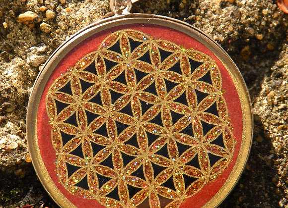 """""""Flower Of Life"""" Hand Painted ..Red Jasper  St.Silver"""