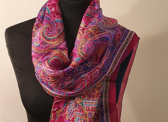 Fine Elephant Print Silk scarf (Maroon)