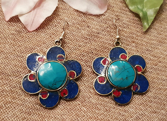 Flower Tibetan Earrings with Turquoise,Lapis and Coral Inlay work(Silver