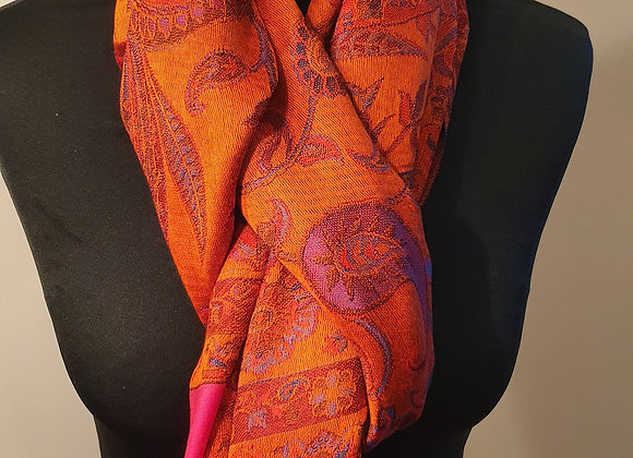 Multicoloured Designs In Orange Pashmina