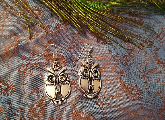Owl Design Earrings(Silver Plated)