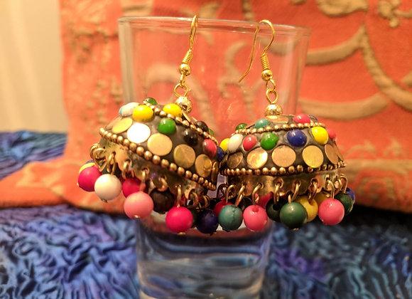 Multicoloured Beaded Brass Earrings