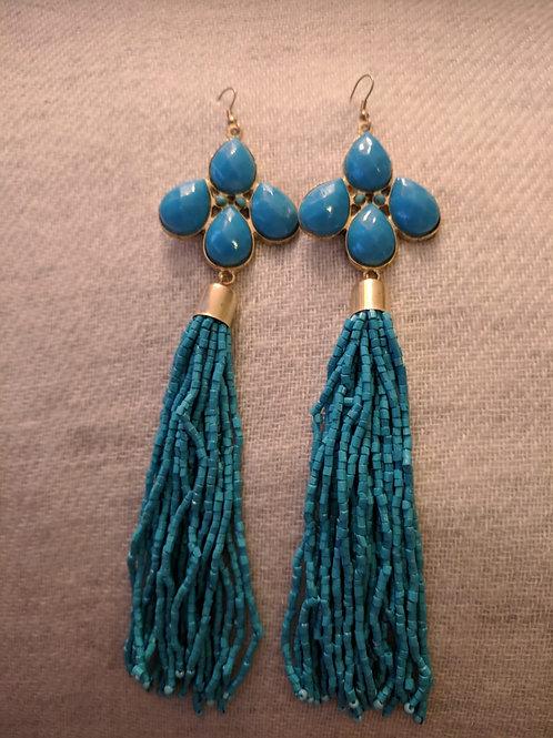 Turquoise big earrings